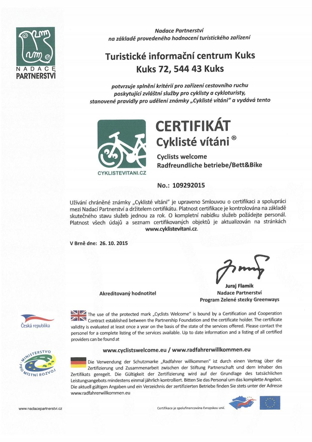 Certifikat Cyskliste vitani