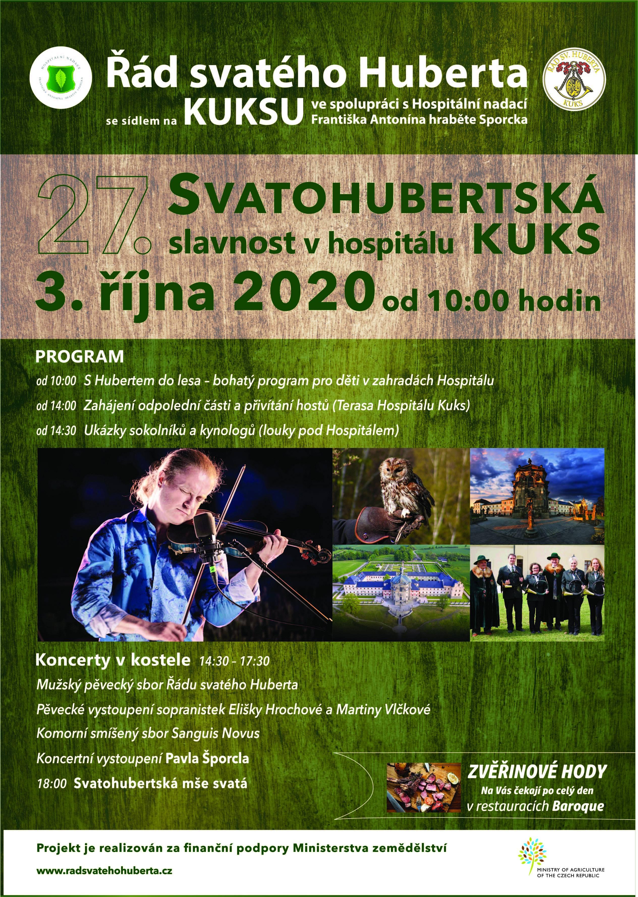 Plakát Svatohubertské slavnosti v Kuksu 2020